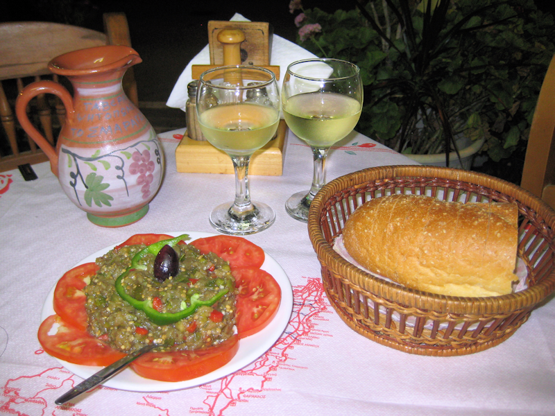 aubergine salad, bread and Retsina